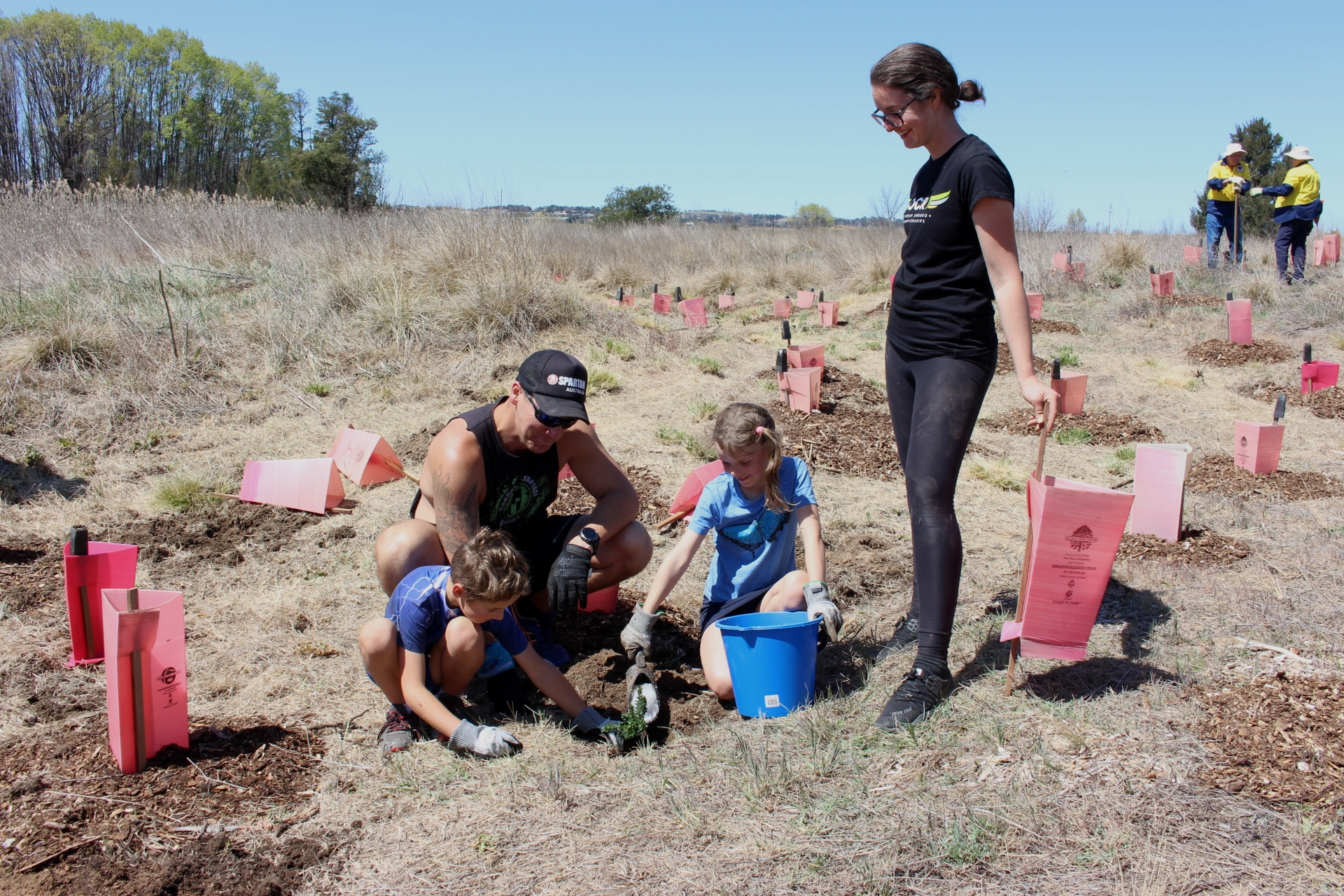 Community volunteers lending a hand to plant native trees and shrubs along the banks of the Macquarie River
